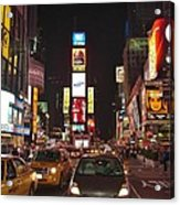Crossing The Street At Times Square At Night Acrylic Print