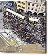 Crowd Forms At Clock Tower - Prague Acrylic Print