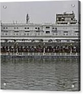 Crowd Of Devotees Inside The Golden Temple Acrylic Print