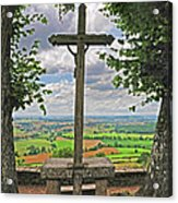 Crucifix Overlooking The French Countryside Acrylic Print