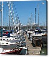 Cruise Ship And Sailboats Pier 39 Acrylic Print