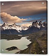 Cuernos Del Paine And Lago Pehoe Acrylic Print