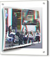 Curb Resting - Red-cyan 3d Glasses Required Acrylic Print