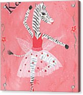 Custom Name Child's Zebra Ballerina Acrylic Print by Kristi L Randall