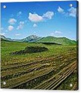 Cut Turf On A Landscape, Connemara Acrylic Print