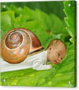 Cute Baby Boy With A Snail Shell Acrylic Print by Jaroslaw Grudzinski