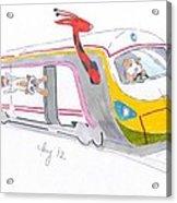 Cute Cartoon High Speed Train And Animals Acrylic Print