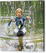 Cute Tiny Boy Riding A Duck Acrylic Print