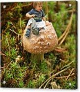 Cute Tiny Boy Sitting On A Mushroom Acrylic Print
