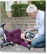 Cycling Accident Acrylic Print by