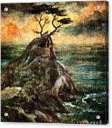 Cypress Tree In Storm Acrylic Print
