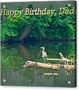 Dad Birthday Greeting Card - Heron On Fallen Tree Acrylic Print