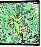Dada Doodle In Green Acrylic Print