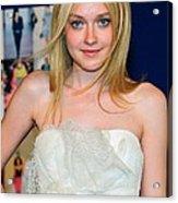 Dakota Fanning Wearing Marchesa Dress Acrylic Print by Everett