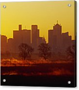 Dallas Skyline At Sunrise Acrylic Print by Jeremy Woodhouse