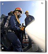 Damage Controlmen Conduct Fire Hose Acrylic Print