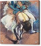 Dancer Fastening Her Pump Acrylic Print by Edgar Degas