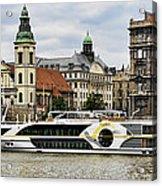 Danube Riverboat In Budapest Acrylic Print