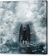 Dark Angel Kneeling On Stairway In The Clouds Acrylic Print