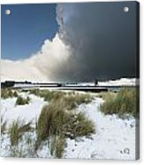 Dark Clouds And Blue Sky Over A Red Acrylic Print