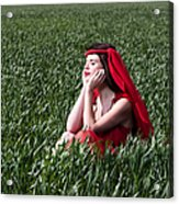 Day Dreams Woman In Red Series Acrylic Print