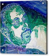 Death Metal Portrait In Blue And Green With Fu Man Chu Mustache And Cracking Textured Canvas Acrylic Print by M Zimmerman