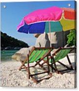 Deck Chairs On A Beach In Thailand Acrylic Print