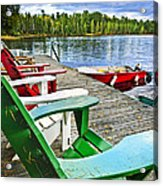 Deck Chairs On Dock At Lake Acrylic Print by Elena Elisseeva