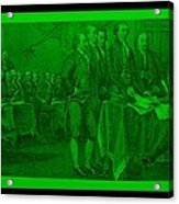 Declaration Of Independence In Green Acrylic Print by Rob Hans