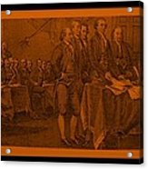 Declaration Of Independence In Orange Acrylic Print