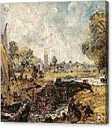 Dedham Lock Acrylic Print by John Constable