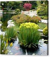 Deep Panorama Of Japanese Garden And Koi Acrylic Print