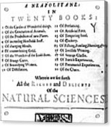 Della Portas Natural Magick, 1658 Acrylic Print