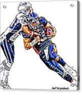 Denver Broncos Tim Tebow - New England Patriots Andre Carter Acrylic Print by Jack K
