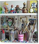 Detail Of My Shelves Brooklyn Alien Art Acrylic Print by Kristi L Randall