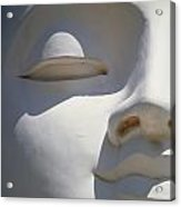 Detail Of The Face Of A White Buddha Acrylic Print