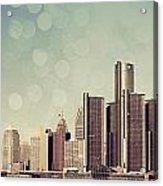 Detroit Dreamy Skyline Acrylic Print