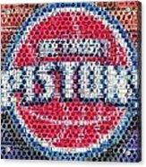 Detroit Pistons Mosaic Acrylic Print