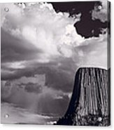 Devils Tower Wyoming Bw Acrylic Print