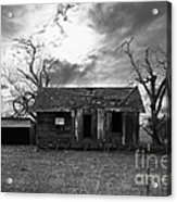 Dilapidated Old Farm House . 7d10341 . Black And White Acrylic Print by Wingsdomain Art and Photography