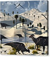 Dinosaurs Gather At A Life Saving Oasis Acrylic Print