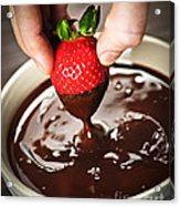 Dipping Strawberry In Chocolate Acrylic Print by Elena Elisseeva