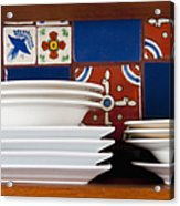 Dishes In Front Of Colorful Tile Acrylic Print by Thom Gourley/Flatbread Images, LLC