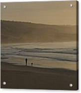 Distant View Of A Person And Dog Acrylic Print