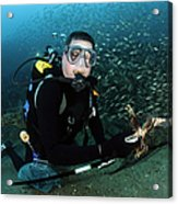 Diver Collects Invasive Lionfish Acrylic Print