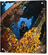 Diver Explores The Liberty Wreck, Bali Acrylic Print