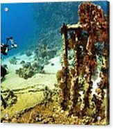 Diver Taking Photographs Underwater Acrylic Print