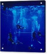 Divers Decompressing Beneath A Boat Acrylic Print