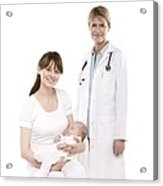 Doctor,mother And Baby Acrylic Print by