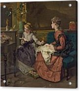 Domestic Scene With Two Girls, One Acrylic Print by Everett